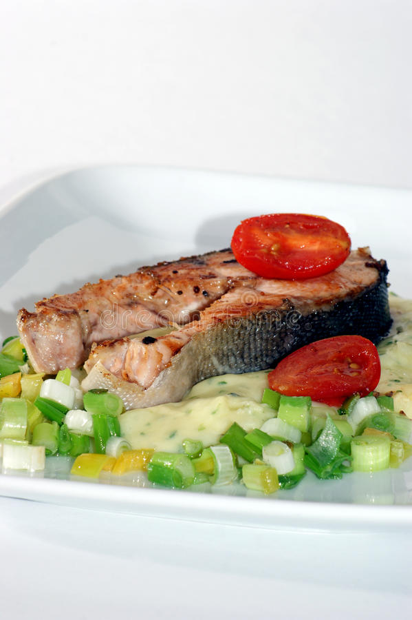 Download Grilled Salmon Fillet On Mashed Potato Onion Stock Image - Image of dinner, gastronomy: 11708277