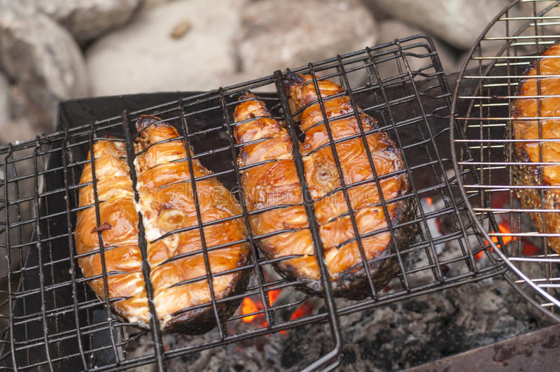 Grilled salmon fillets on grill. Outdoors stock photos