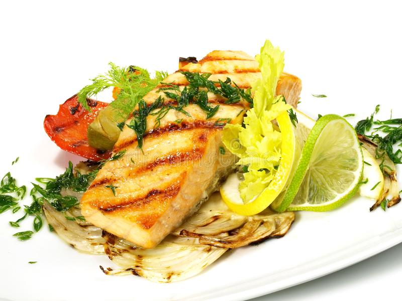 Grilled Salmon - Fish Fillet royalty free stock photography