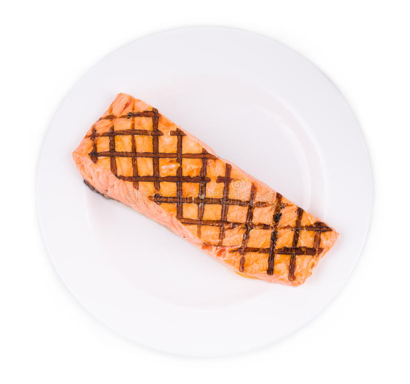 Grilled salmon fish fillet. royalty free stock photo