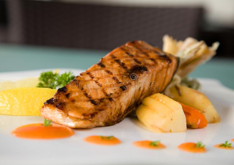 Grilled salmon fish stock image