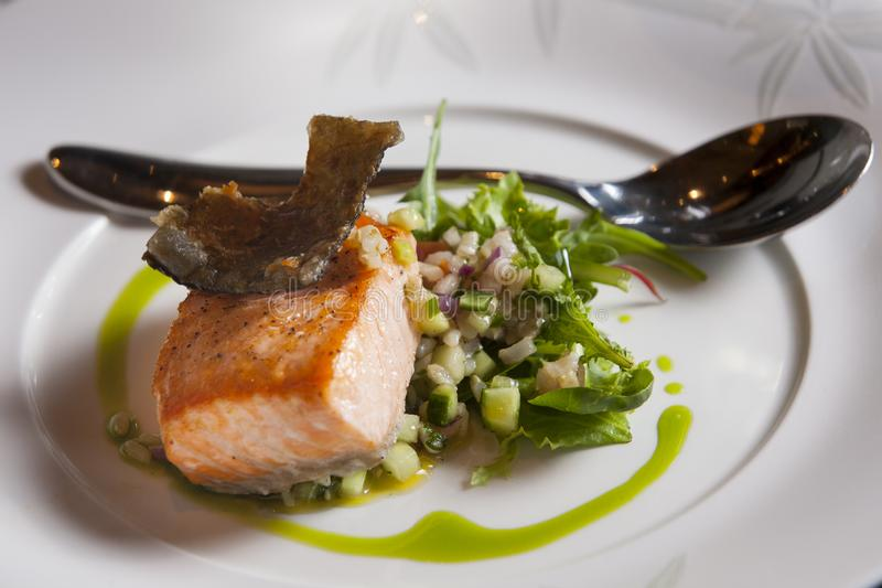 Grilled Salmon Lunch Dish stock images