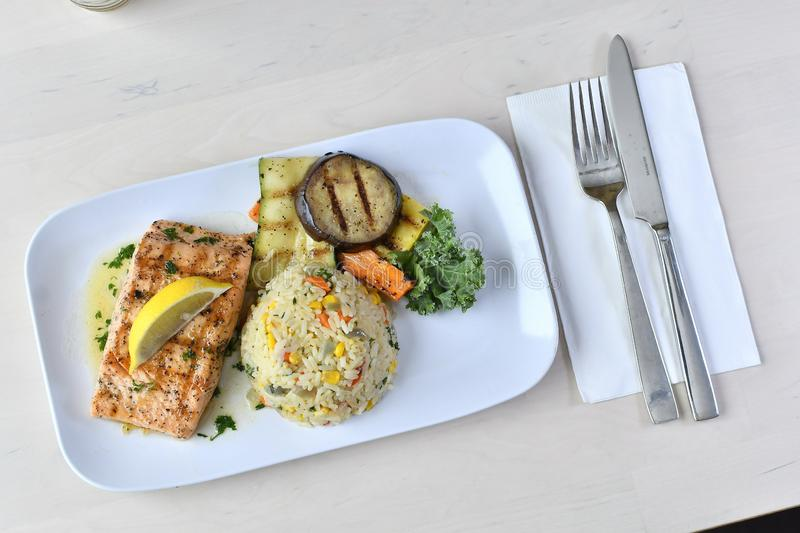 Grilled Salmon Meal 2 stock photo