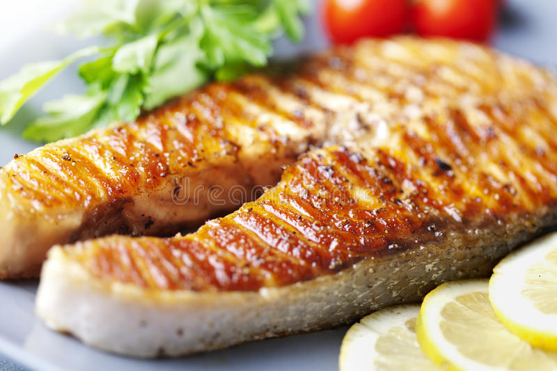 Download Grilled salmon steak stock image. Image of gourmet, seafood - 23268415