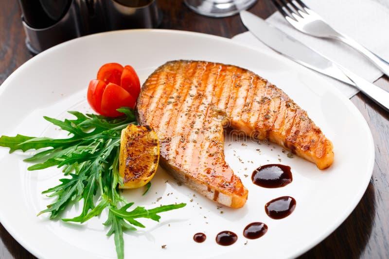 Grilled salmon steak stock image