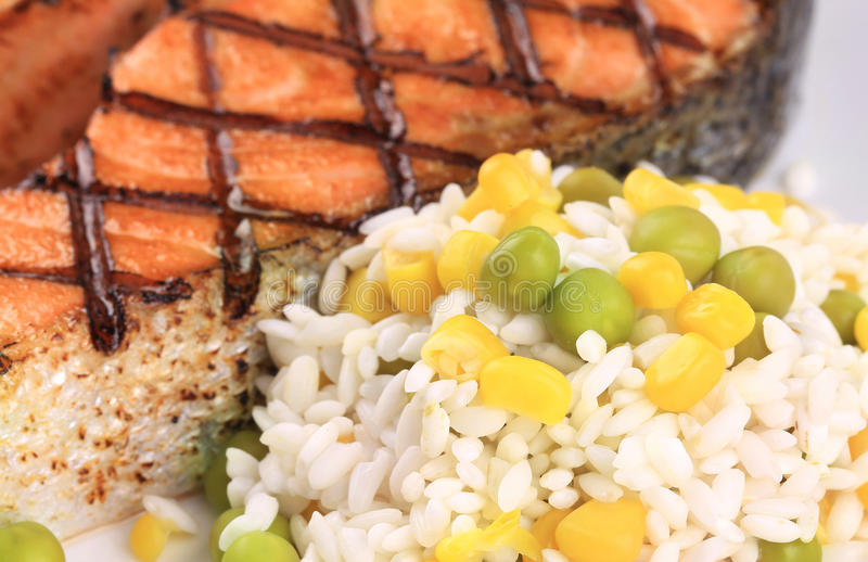 Download Grilled Salmon Steak With Rice On Plate. Stock Photo - Image: 38558166