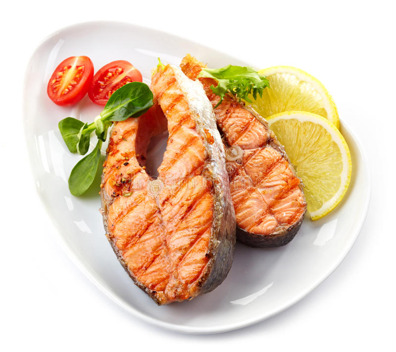 Free Grilled Salmon Steak Slices Royalty Free Stock Images - 36395909