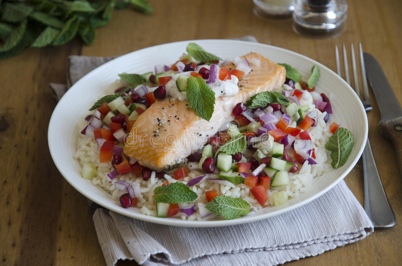 Grilled salmon. Turkish grilled salmon with chopped salad royalty free stock images