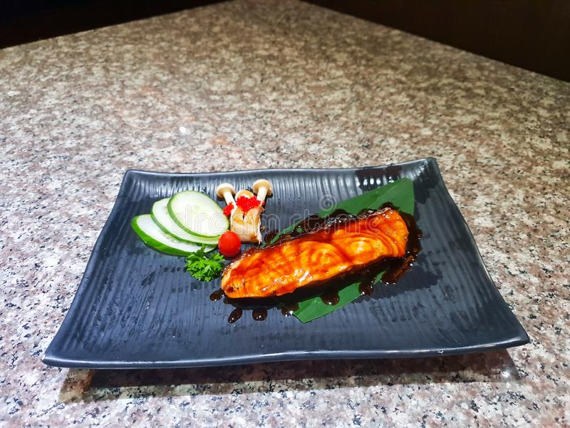 Grilled salmon with vegetables royalty free stock photos