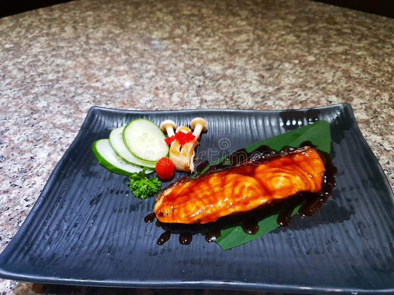 Grilled salmon with vegetables stock photo