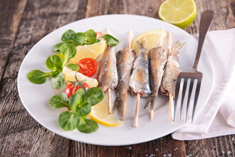 Grilled sardine. Close up on grilled sardine stock images