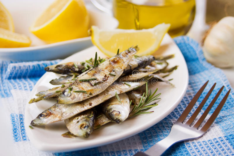 Grilled sardine fish. Served with with rosemary and lemon royalty free stock photos
