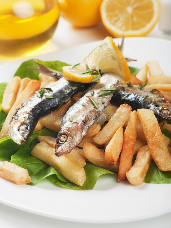 Download Grilled Sardine Fish With French Fries Stock Photo - Image: 31990990
