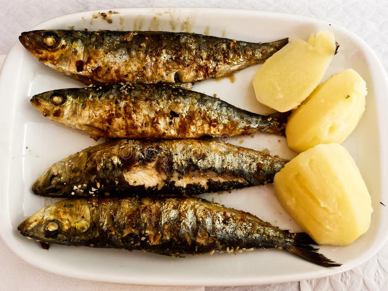 Grilled Sardines Plate with Potato royalty free stock photography
