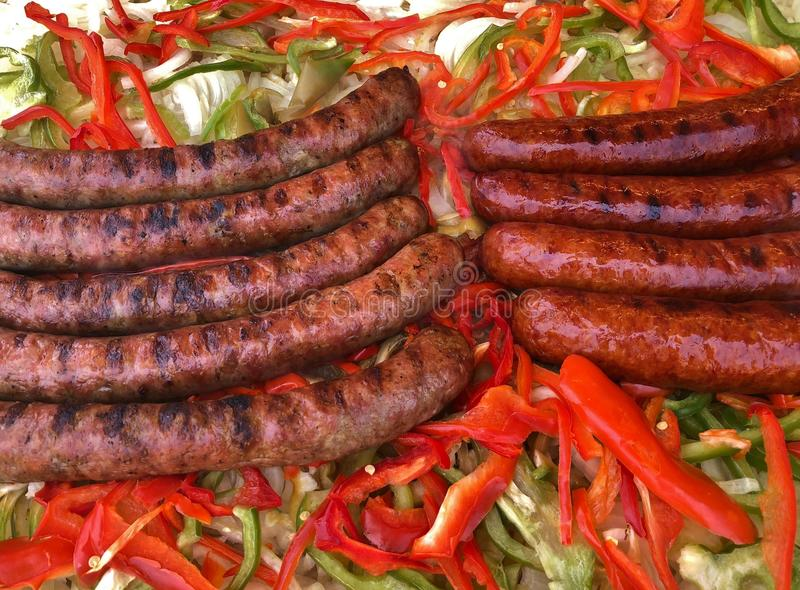 Grilled Sausage and Peppers royalty free stock photography