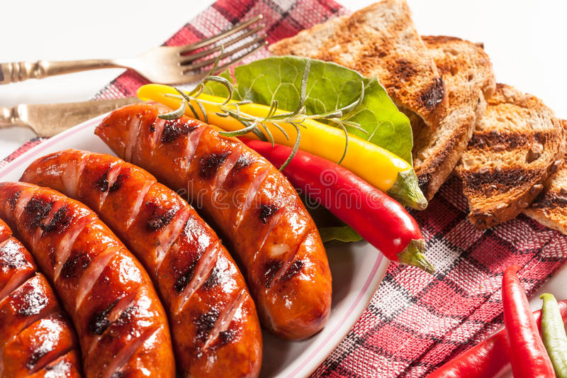 Download Grilled sausage. stock photo. Image of barbeque, cooking - 86031520