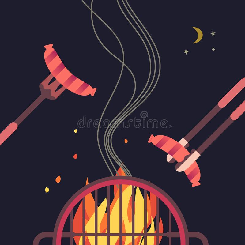 Grilled sausage simple flat color vector icon. BBQ grilled sausages flat hand drawn vector color icon. Barbecue design element. Grilling pork sausage camping stock illustration
