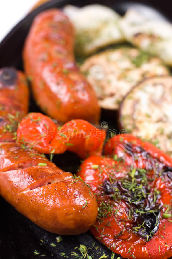 Download Grilled sausages, macro stock image. Image of browned - 20739775