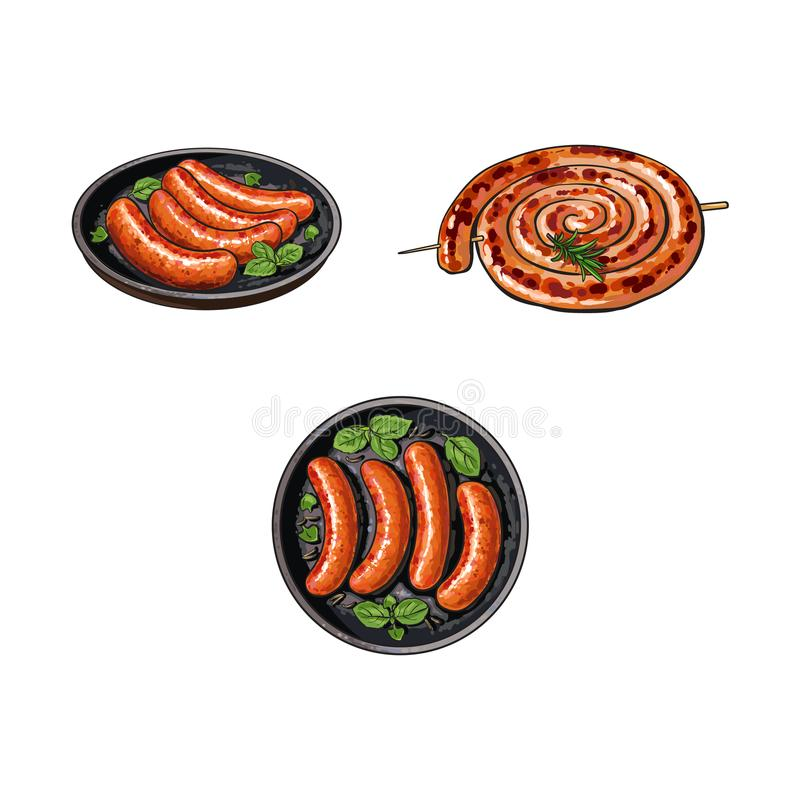 Grilled sausages on stick and in frying pan. Sketch style vector illustration on white background. Realistic hand drawing of grilled, fried, barbequed sausages royalty free illustration