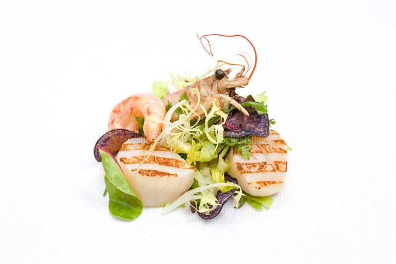 Grilled Scallop and Shrimp Salad. stock photo