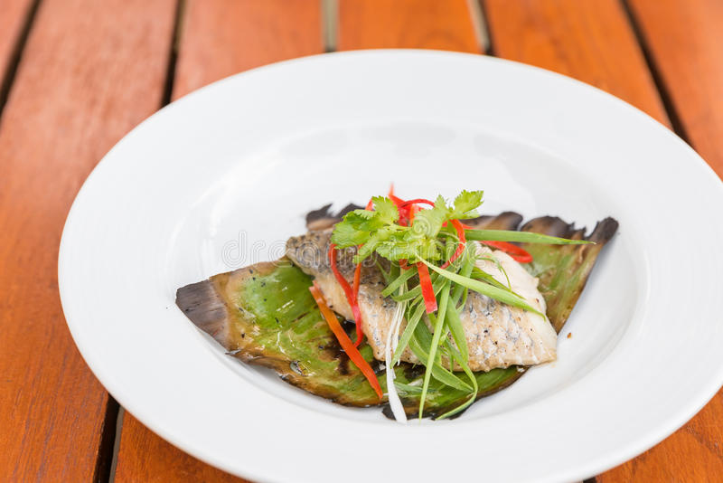 Grilled Sea Bass. Fillet with leek and chili royalty free stock photo