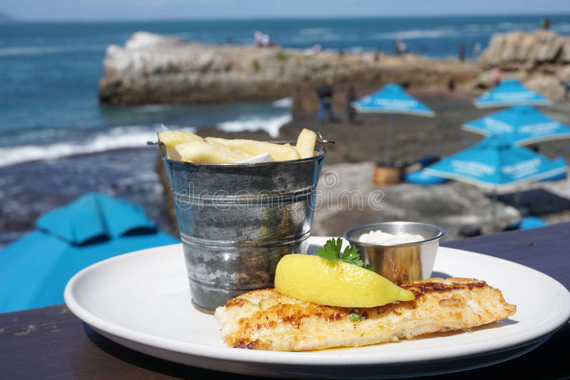 Grilled sea bass serving with french fried. With ocean background stock photography