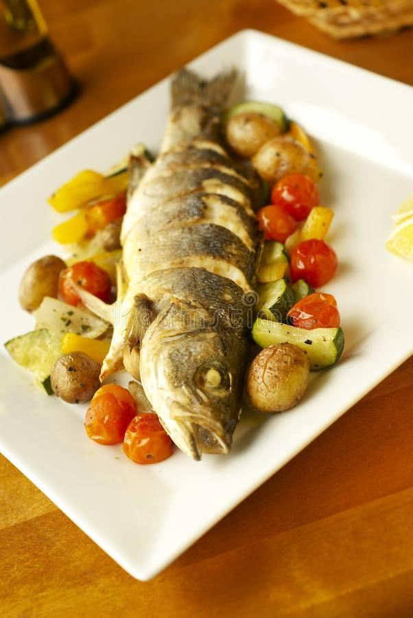 Grilled sea bass with vegetables royalty free stock images
