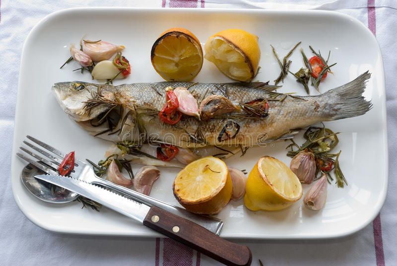 Grilled seabass stock images