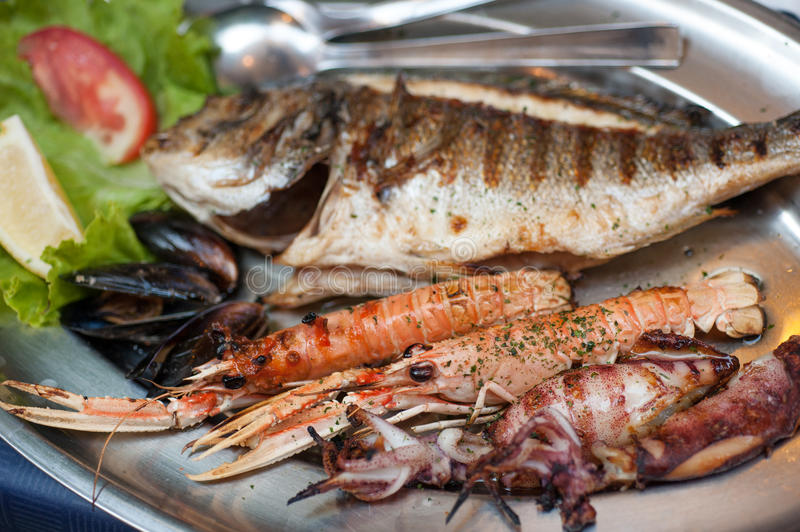 Grilled seafood plate royalty free stock photo