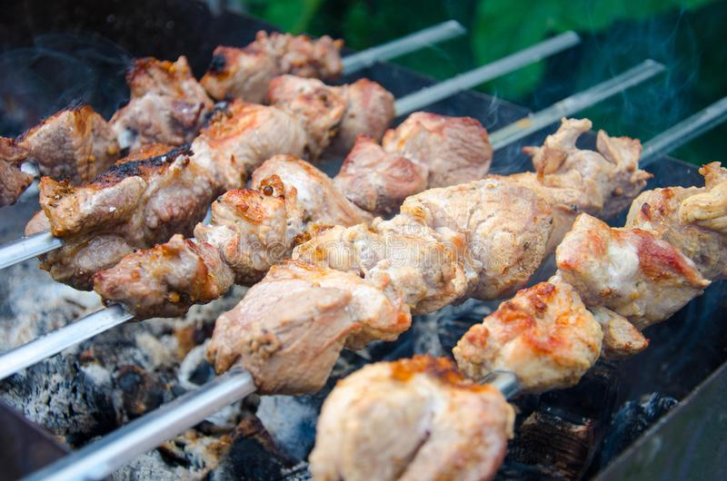 Grilled shish kebabs on skewers stock image