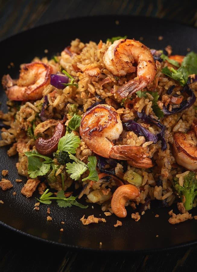 Grilled shrimp salad stock photography