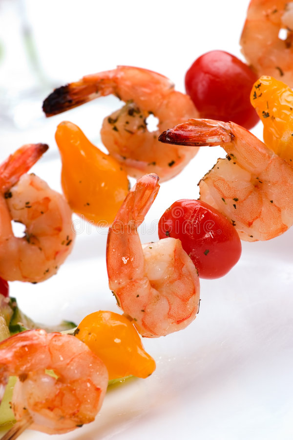 Download Grilled Shrimps And Cucumber Salad Stock Photo - Image of diet, prawns: 4596060
