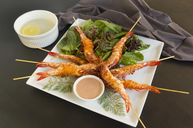 Grilled Shrimps stock photography