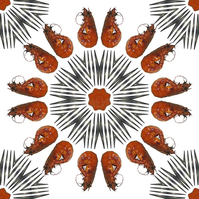 Grilled shrimps and forks round frame seamless photo pattern royalty free stock photo