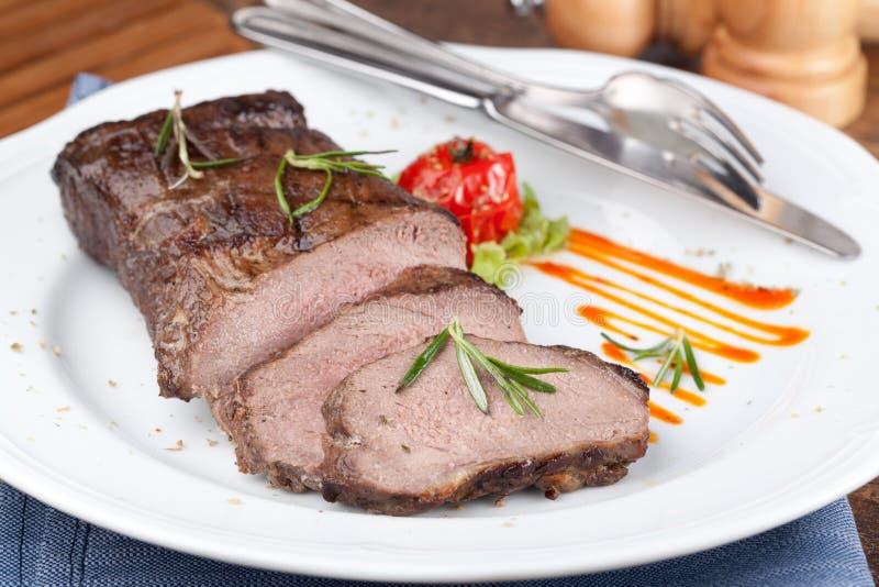 Grilled sirloin steak royalty free stock photos