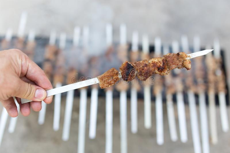 Grilled skewers on the grill stock photo