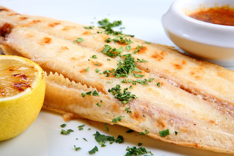 Grilled sole fish stock photo