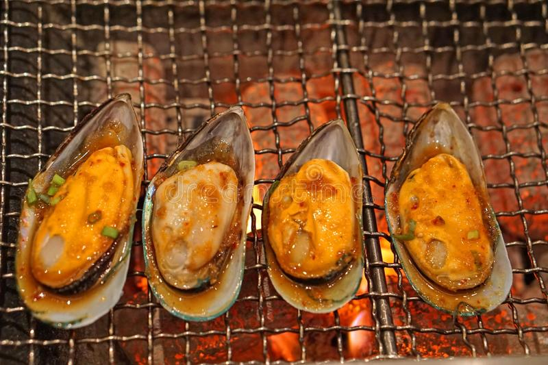 Grilled spicy sauce mussel on hot stove royalty free stock photo