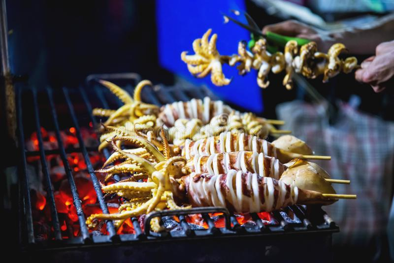Grilled squid royalty free stock photos