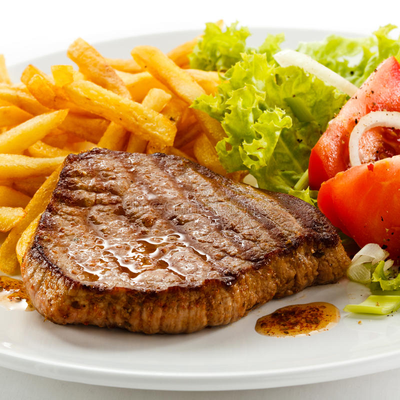 Free Grilled Steak And French Fries Royalty Free Stock Image - 24379806