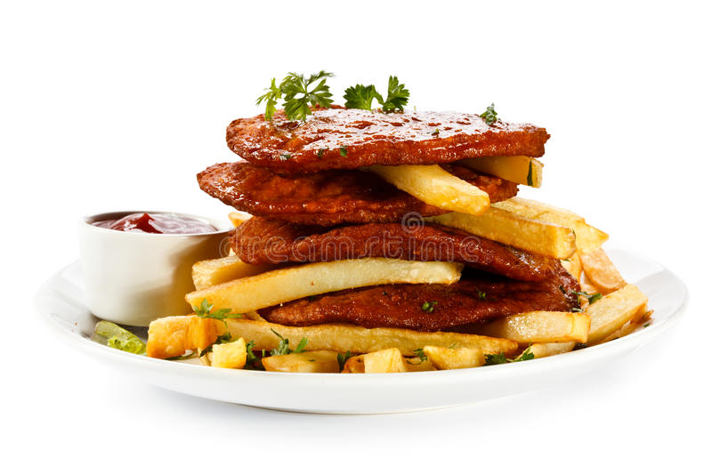 Download Grilled Steak And French Fries Stock Photo - Image: 29164010