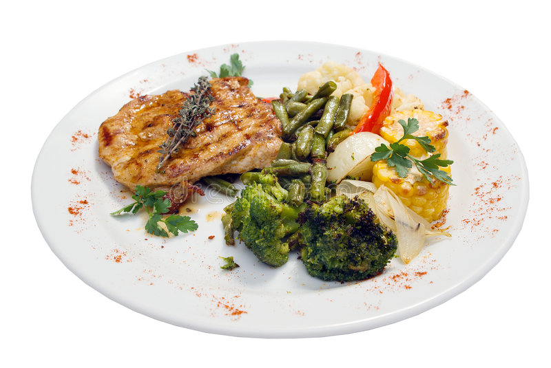 Grilled steak with french fries and broccoli stock image