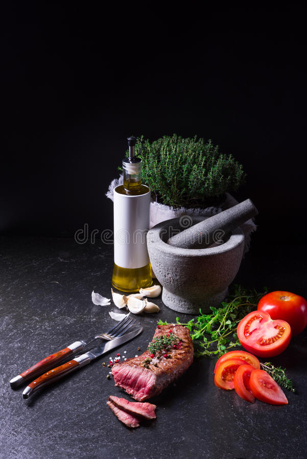 Grilled steak stock image