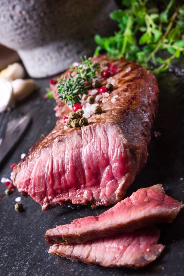 Grilled steak stock photo