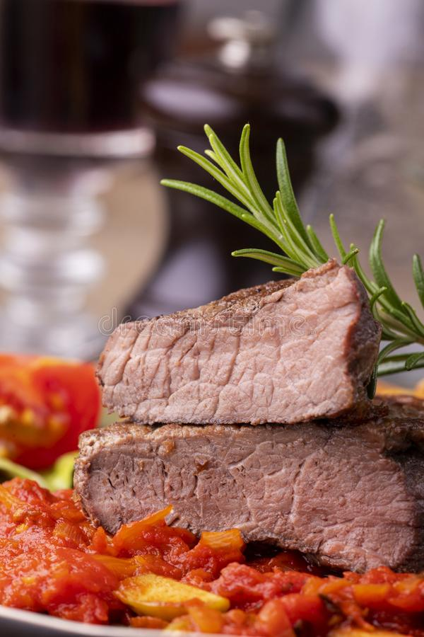 grilled steak on a plate stock image