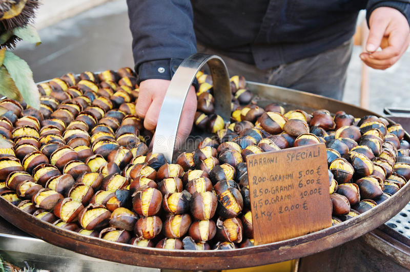Grilled Sweet Chestnut Stock Images