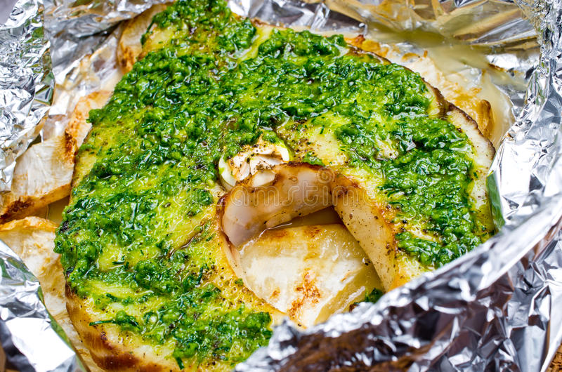 Grilled swordfish fillet with pesto stock photo