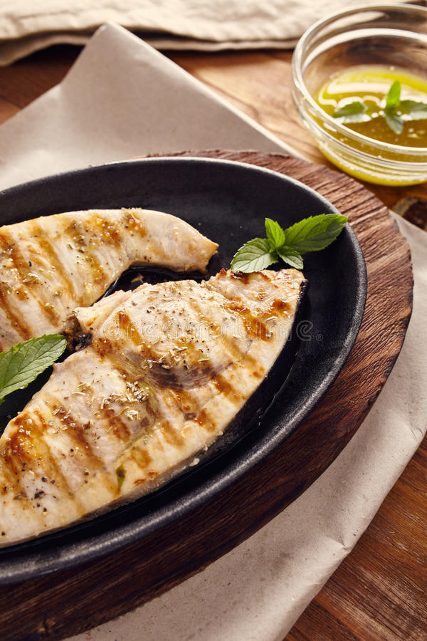 Grilled swordfish stock images