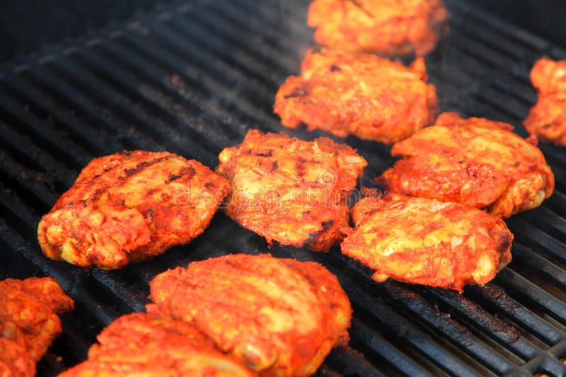 Grilled tandoori style chicken stock photos