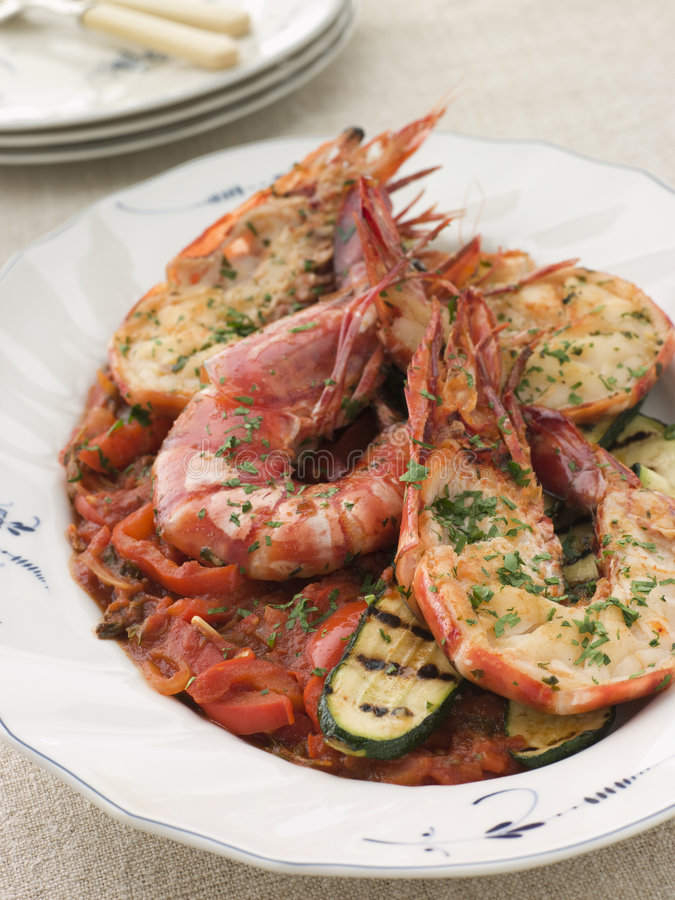 Free Grilled Tiger Prawns On Piperade Stock Photos - 5624273